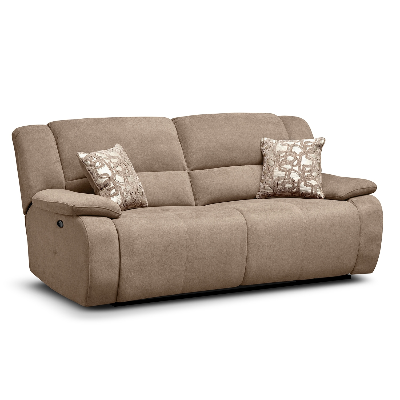 Living Room Furniture - Fortuna II Beige Power Reclining Sofa