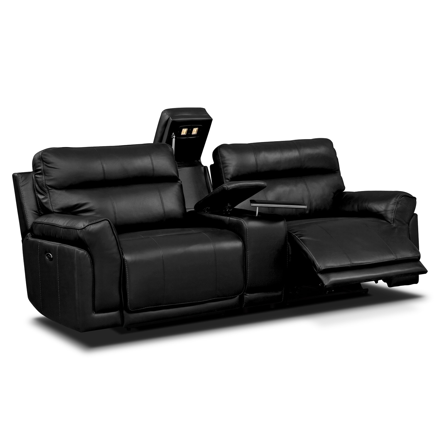Antonio black power reclining sofa with console Power loveseat recliner