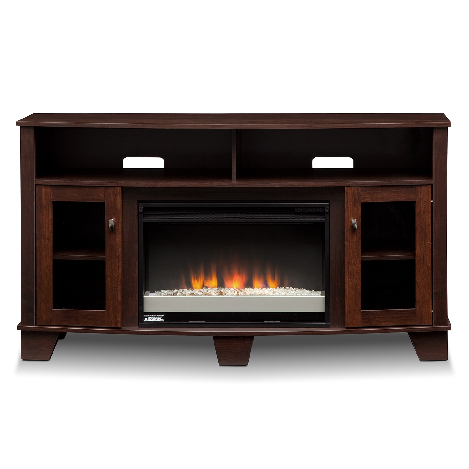 Vernon Fireplace Tv Stand With Contemporary Insert Dark