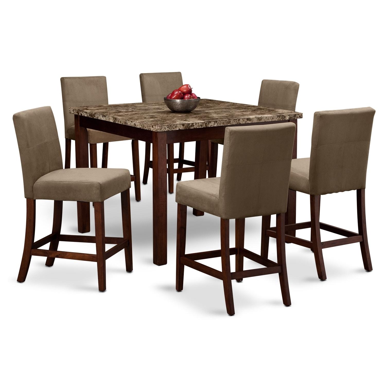 Dining room furniture cornerstone ii 7 pc counter for Dining room furniture specials