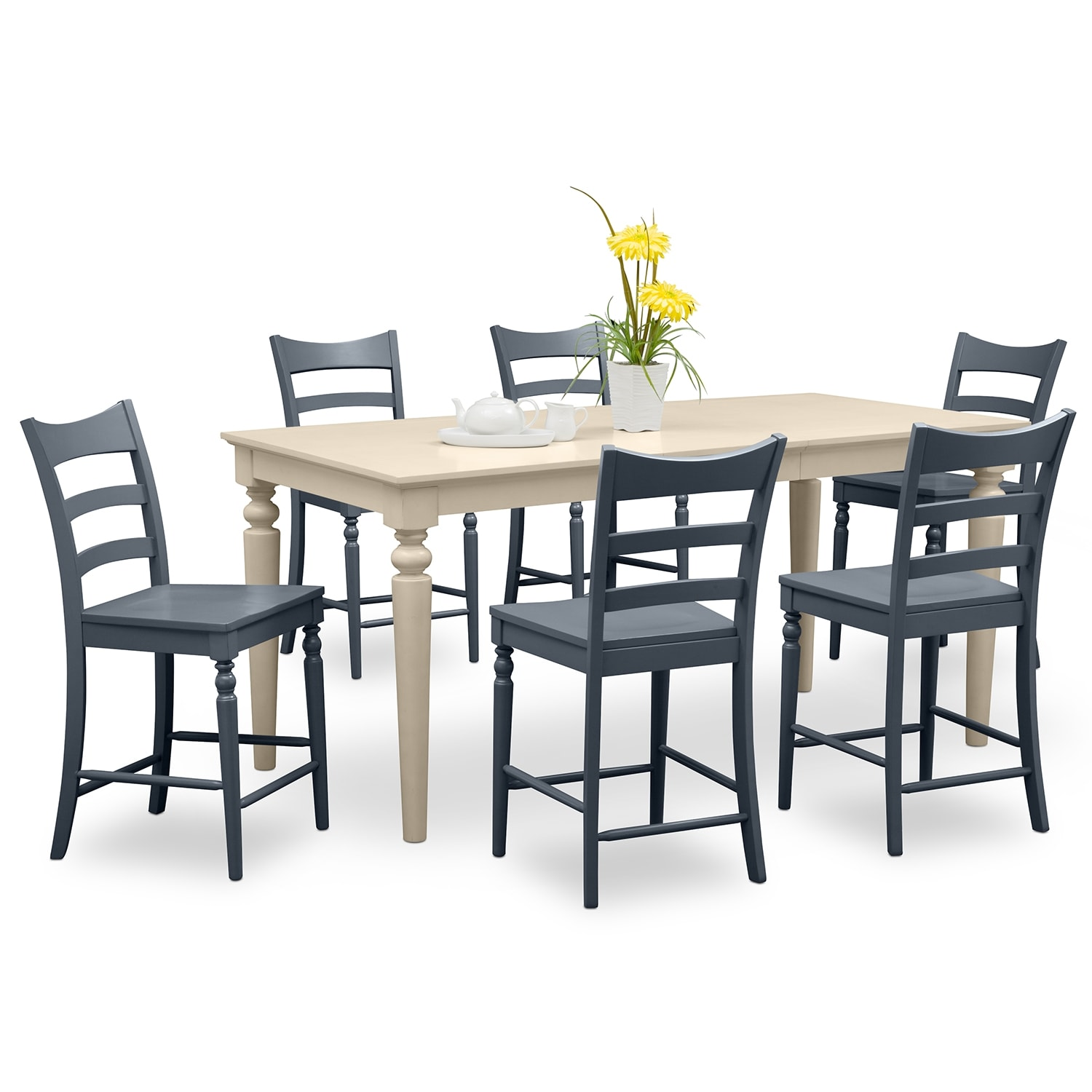 Carnival blue ii dining room 7 pc counter height dinette for Dining room furniture specials