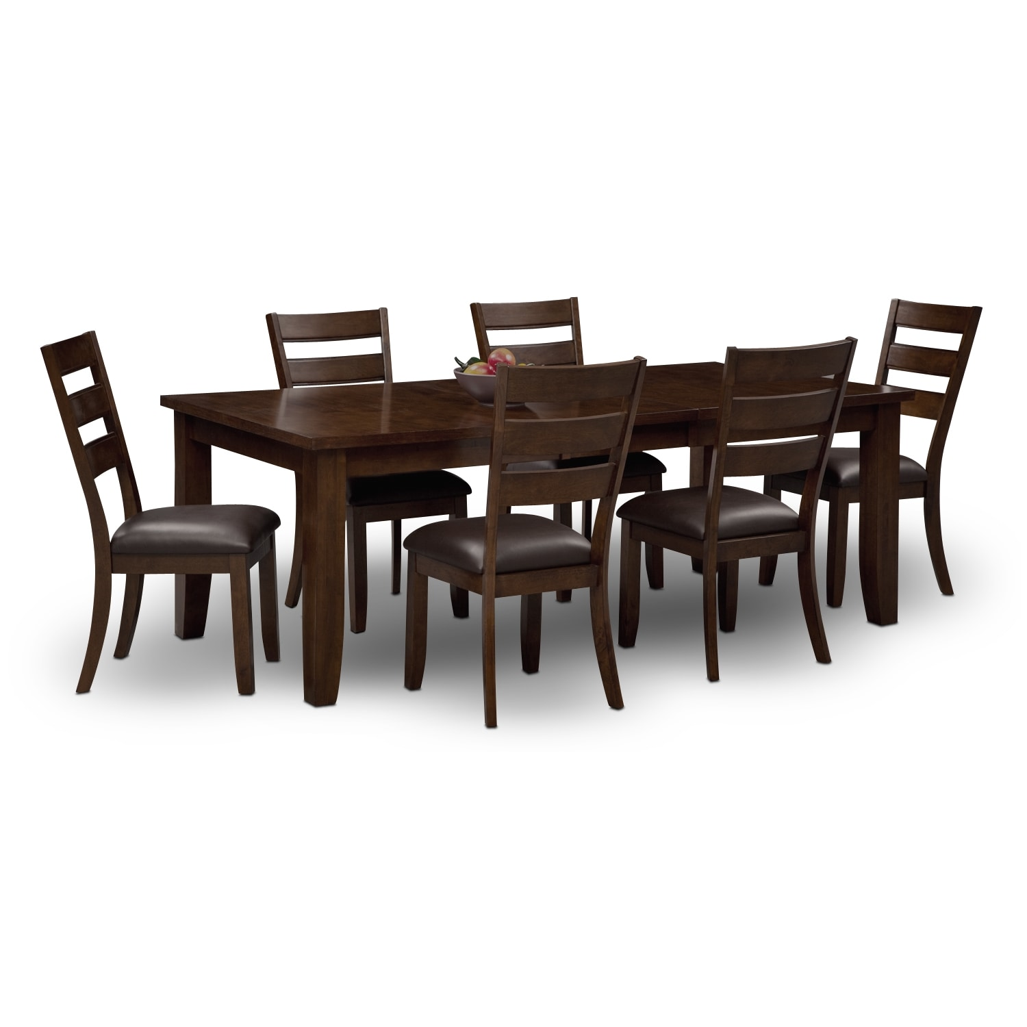 abaco table and 6 chairs brown value city furniture. Black Bedroom Furniture Sets. Home Design Ideas