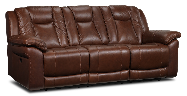 Living Room Furniture - Plato Power Reclining Sofa - Brown