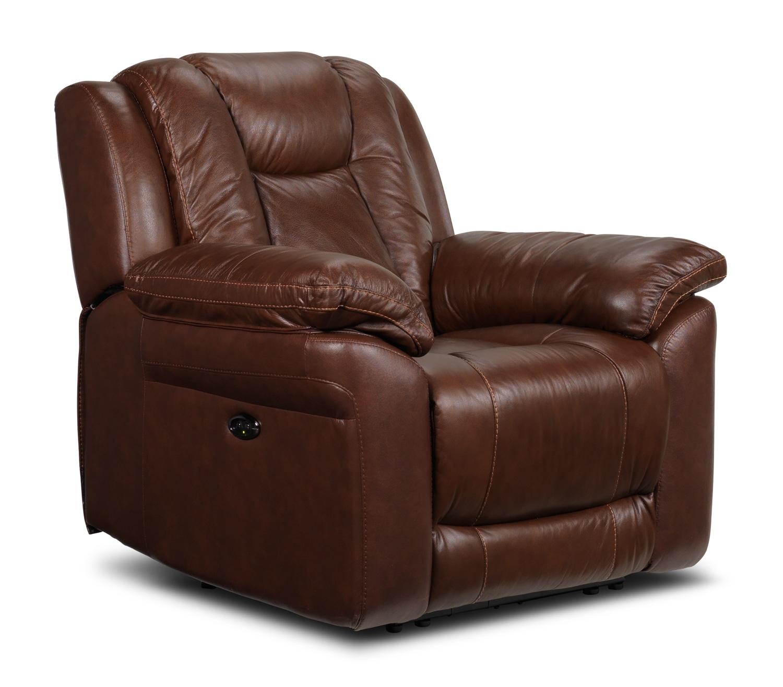 Living Room Furniture - Plato Power Recliner - Brown