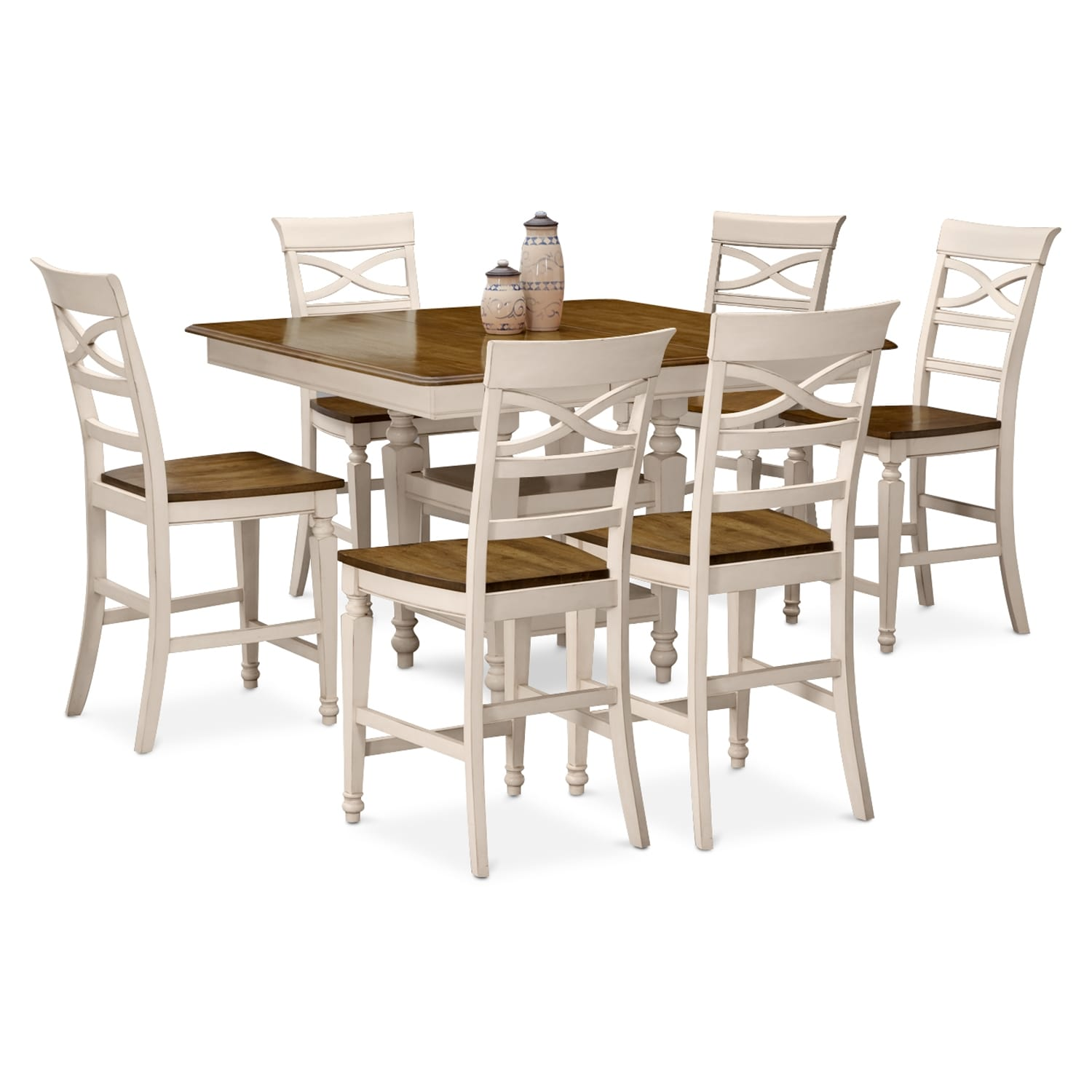 Sophie cream 7 pc counter height dining room - Height dining room table ...