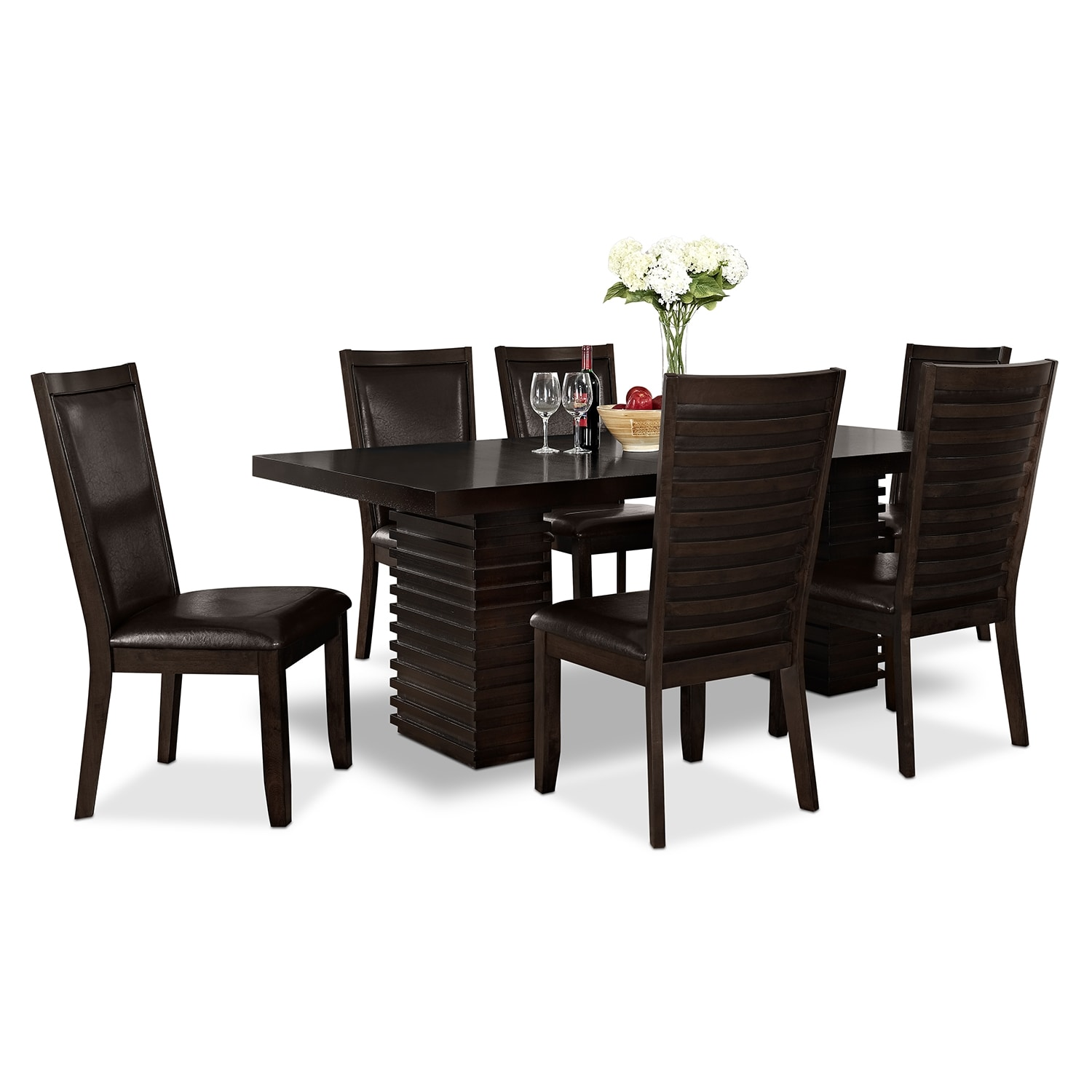 paragon table and 6 chairs merlot and brown american