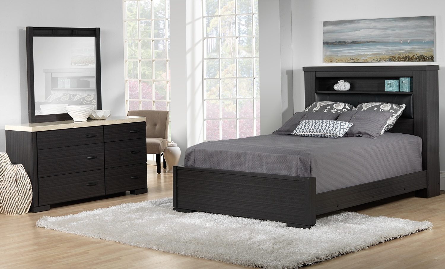 Santee 5 piece queen bedroom set charcoal white leon 39 s for White queen bedroom set
