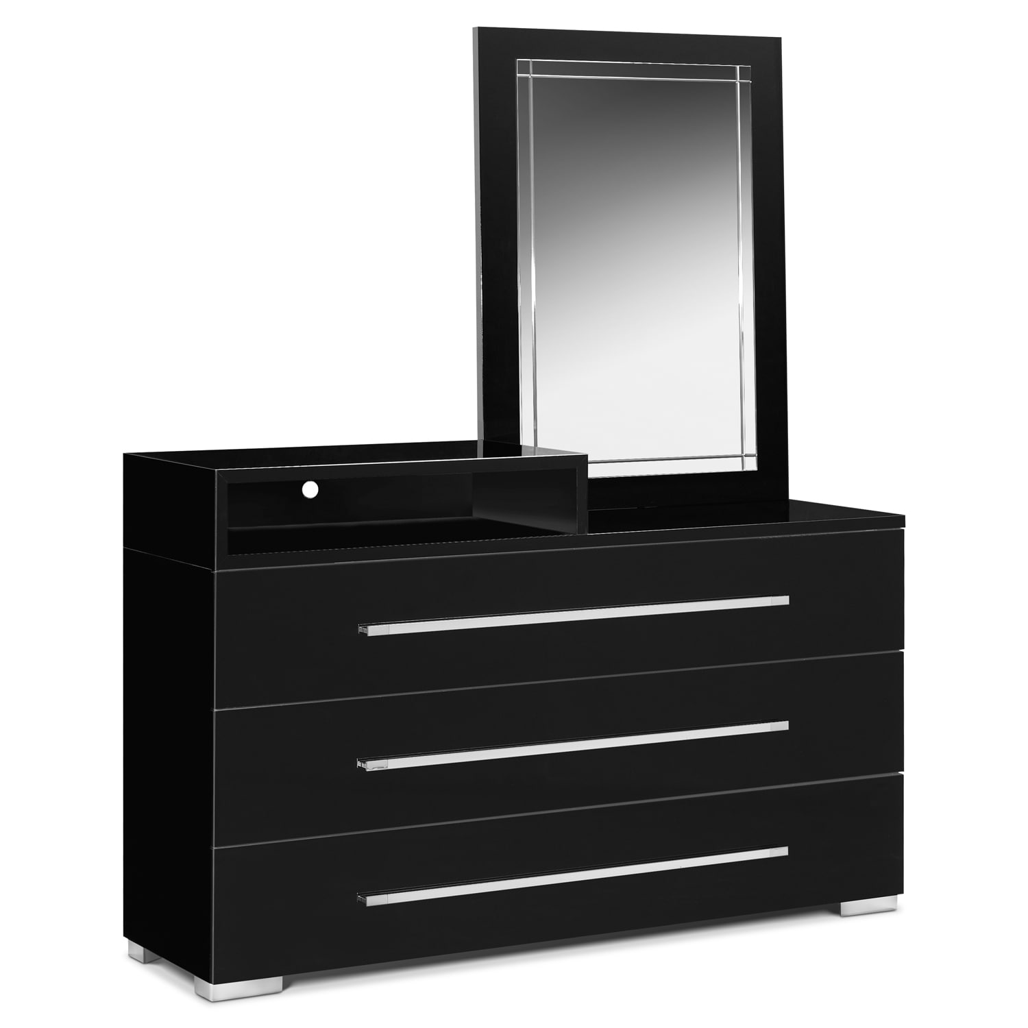 Dimora dresser with deck and mirror black value city for Bedroom dressers