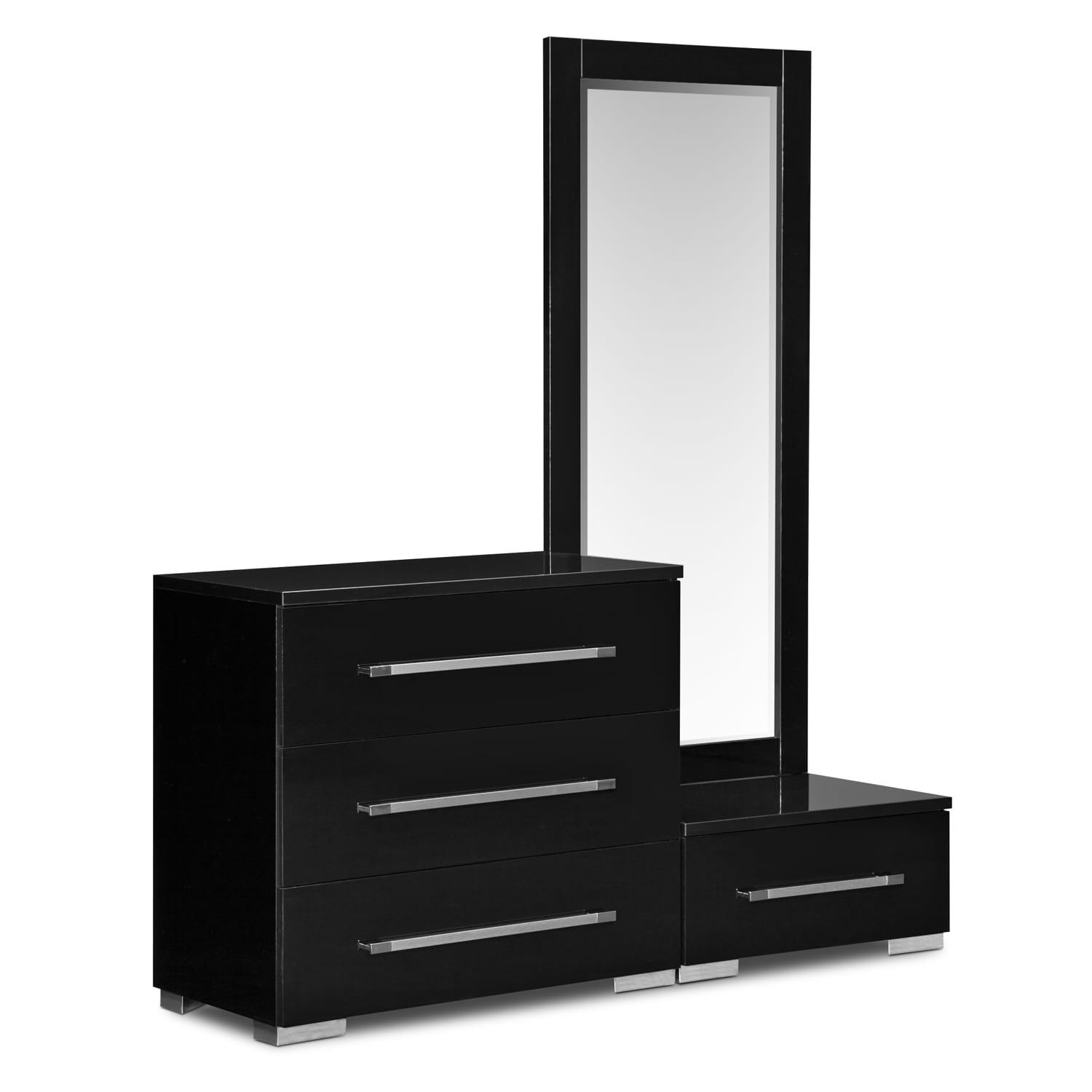 Dimora Black Dressing Dresser Mirror With Step American Signature Fur