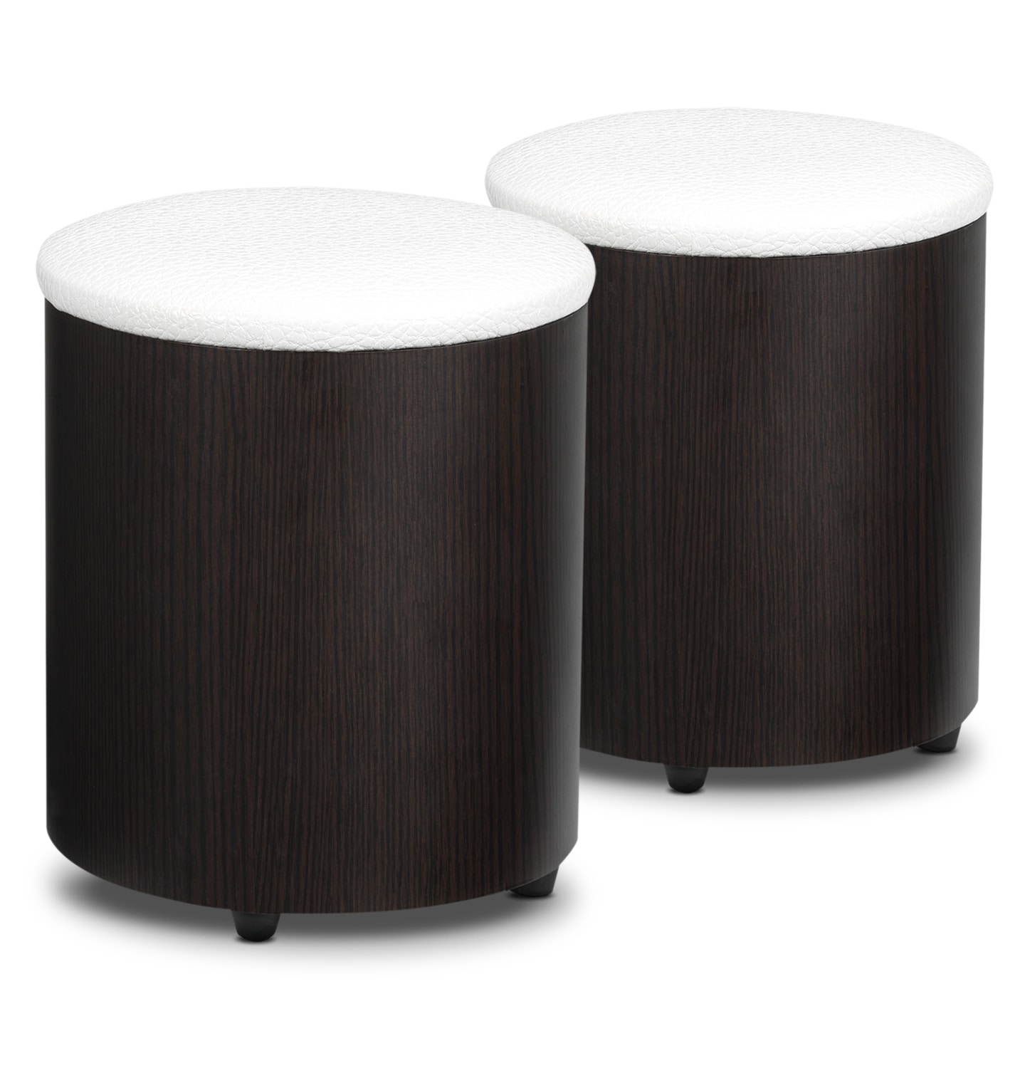 Accent and Occasional Furniture - Serpentine Cocktail Stool Set - Espresso, Silver