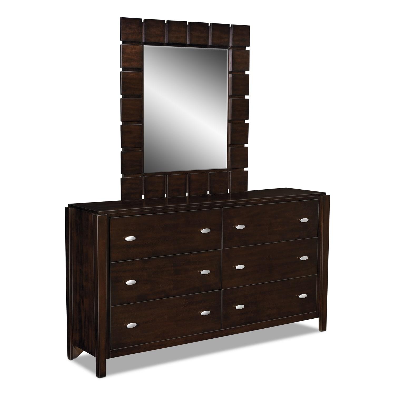 mosaic dresser and mirror dark brown value city furniture. Black Bedroom Furniture Sets. Home Design Ideas