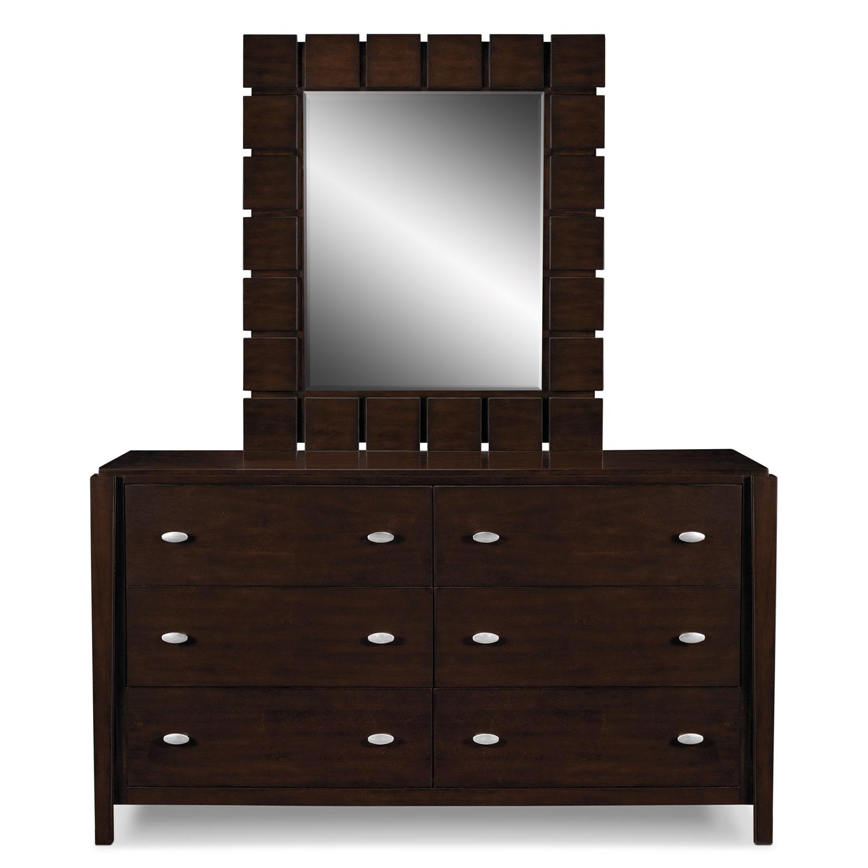 Mosaic dresser and mirror dark brown american for Dark brown bedroom furniture