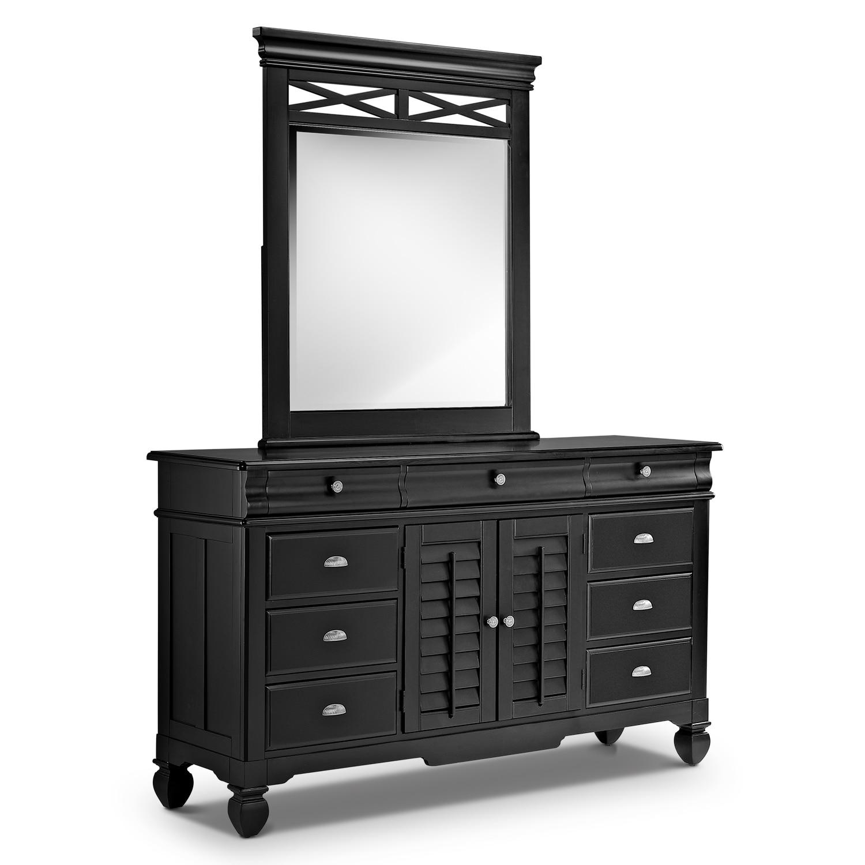 [Plantation Cove Black Dresser & Mirror]