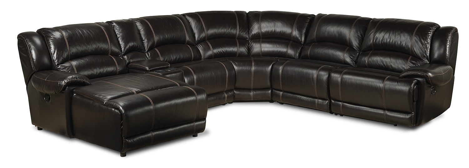 Notredame 6-Piece Left-Facing Power Sectional - Dark Brown