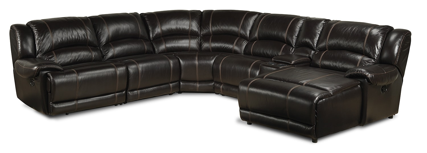 Living Room Furniture - Notredame 6-Piece Right-Facing Power Sectional - Dark Brown