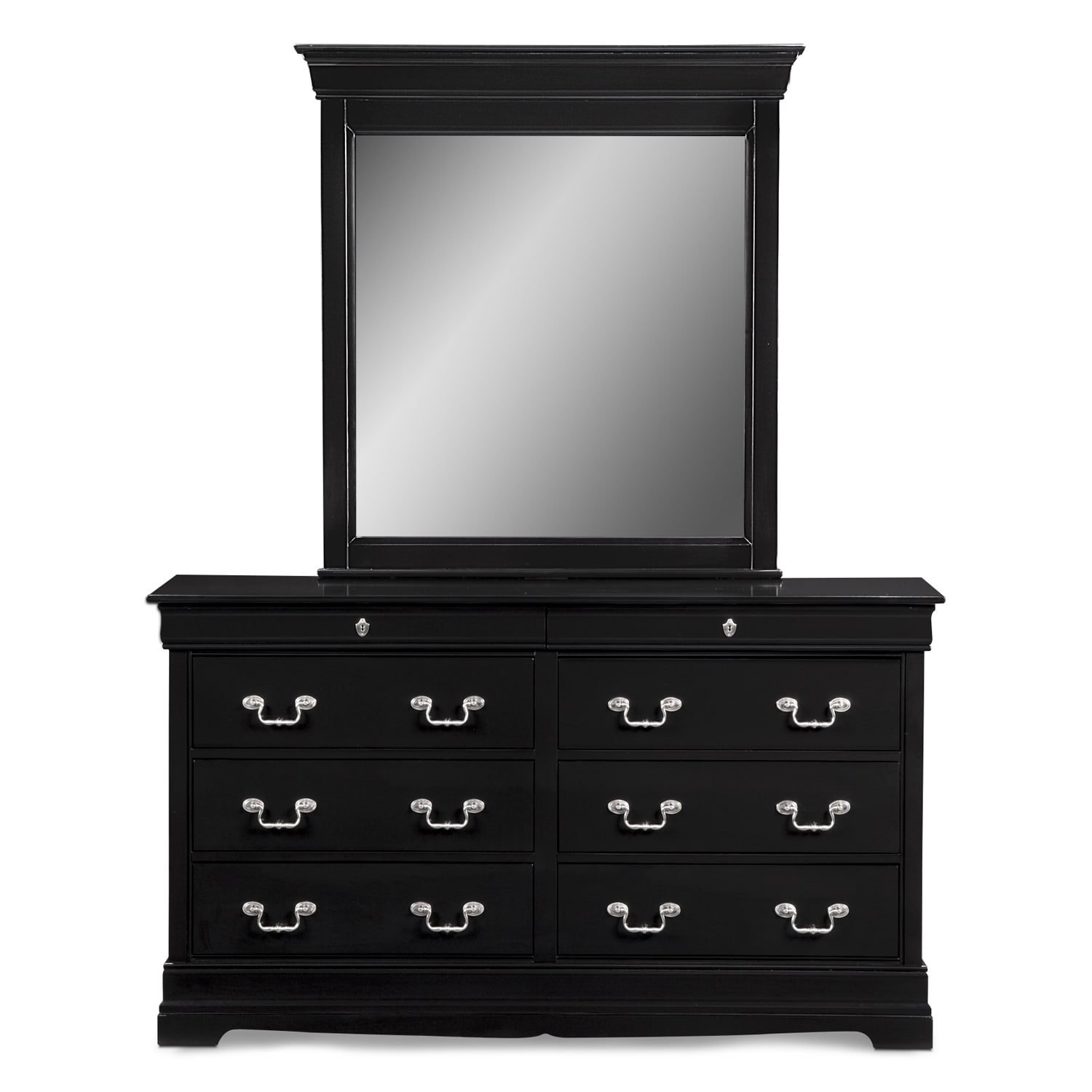 Neo Classic Dresser And Mirror Black Value City Furniture