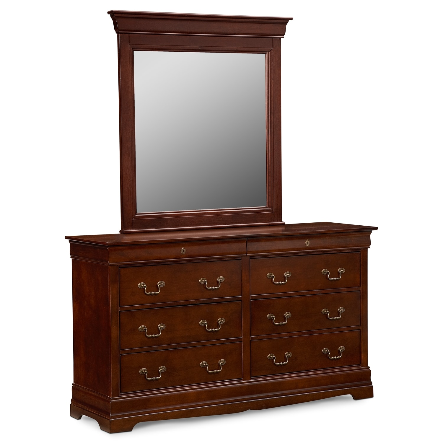 Neo classic cherry dresser mirror value city furniture for Bedroom dressers