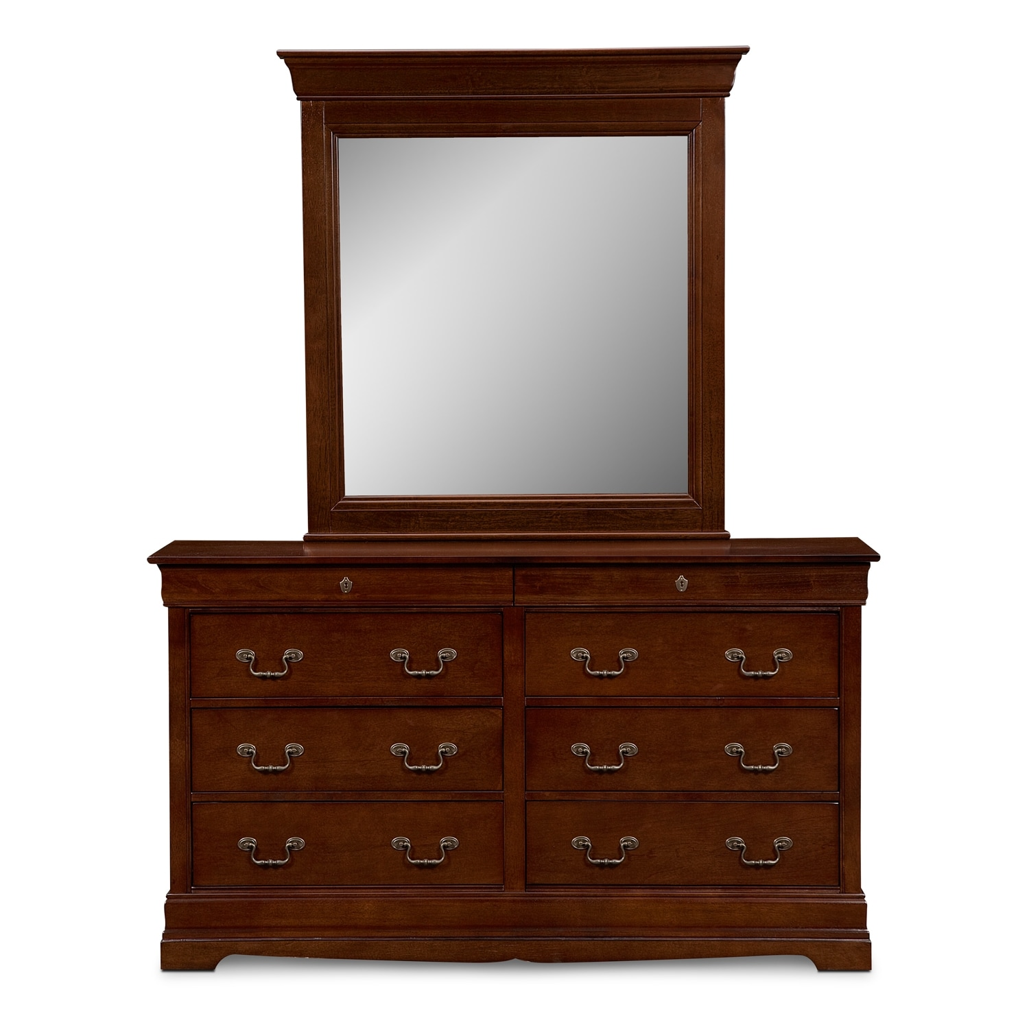 Neo classic dresser and mirror cherry american for Furniture and mirror