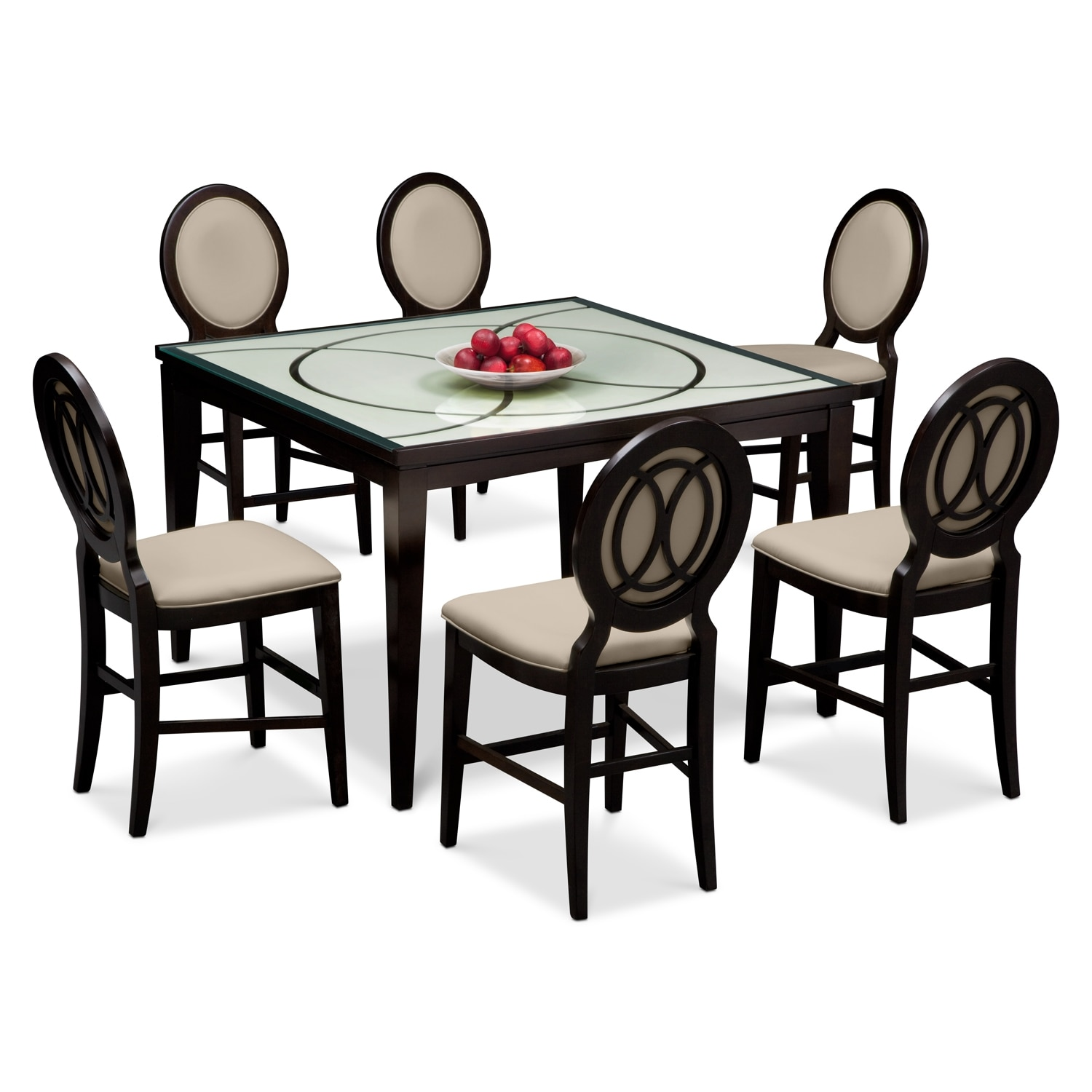 Cosmo ii 7 pc counter height dining room value city for 2 dining room tables