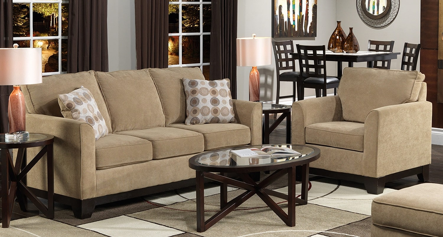 Sand Castle Sofa and Chair Set - Light Brown