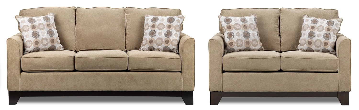 Sand Castle Sofa and Loveseat Set - Light Brown