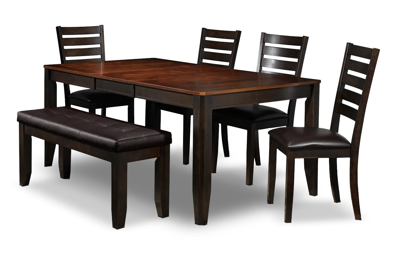 Casual Dining Room Furniture - Krista 6-Piece Dinette Set - Dark Chocolate