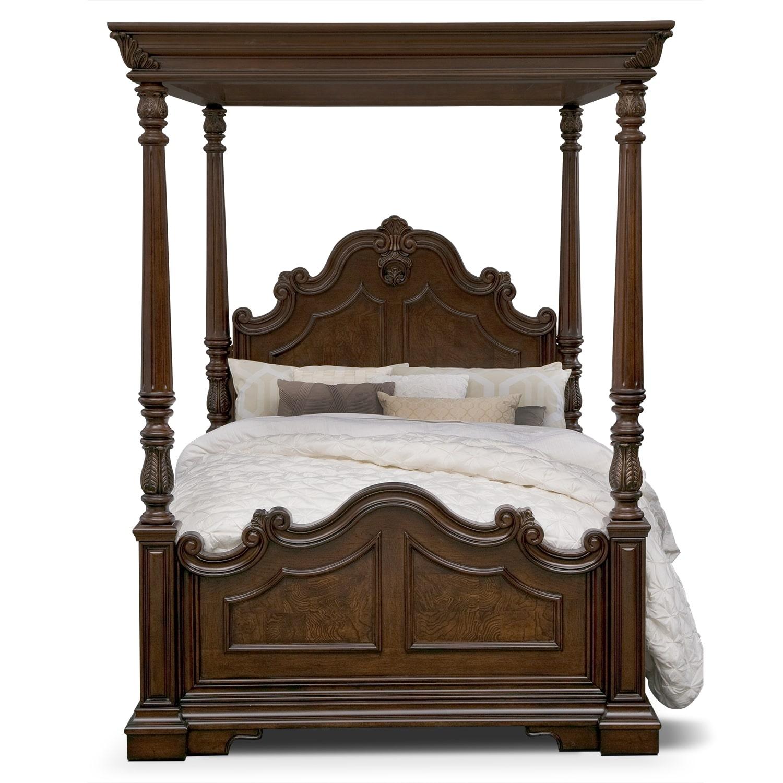 monticello pecan canopy queen bed value city furniture