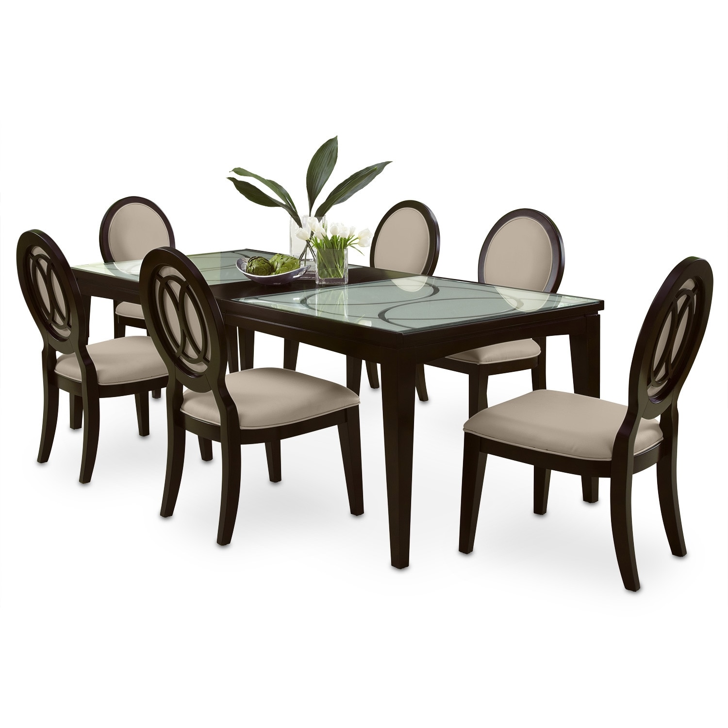 Cosmo table and 6 chairs merlot american signature for Rooms to go dining sets