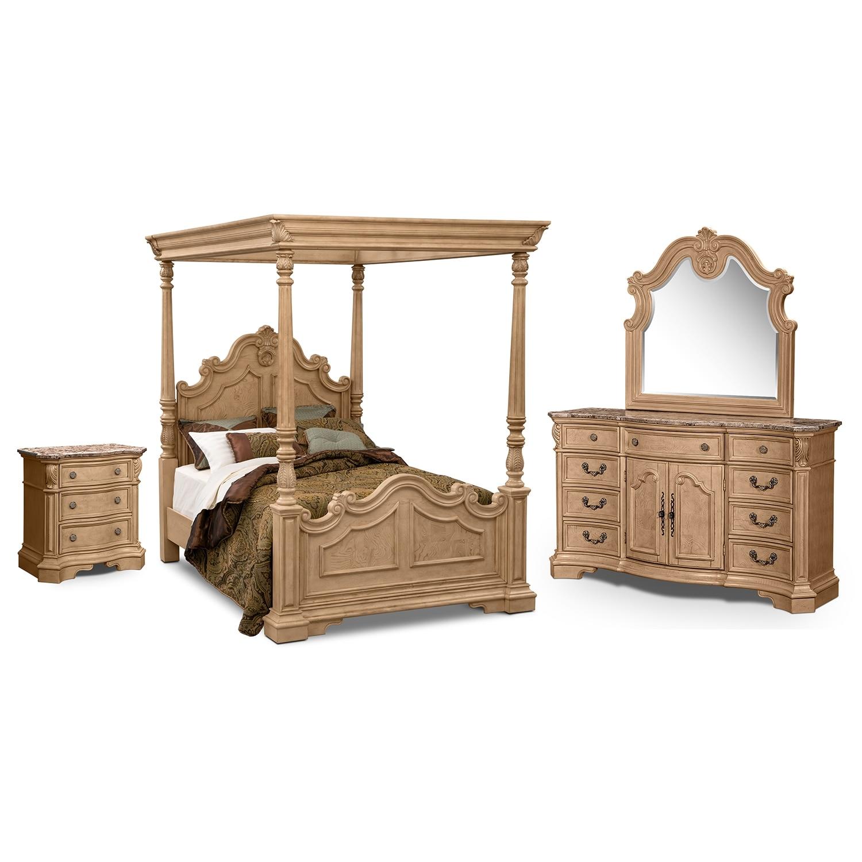 signature furniture monticello almond bedroom 6 pc king bedroom