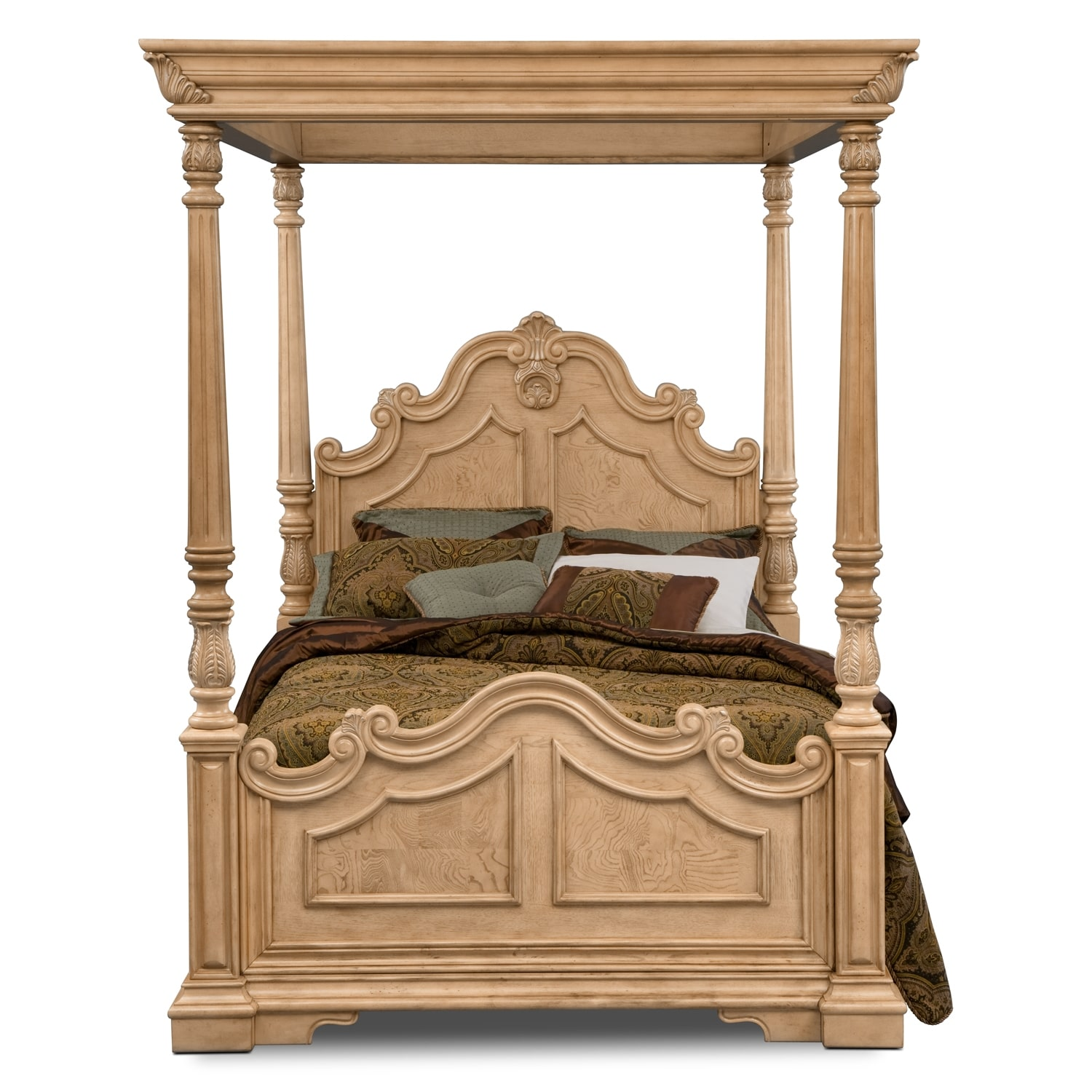 monticello almond canopy bedroom queen bed value city furniture