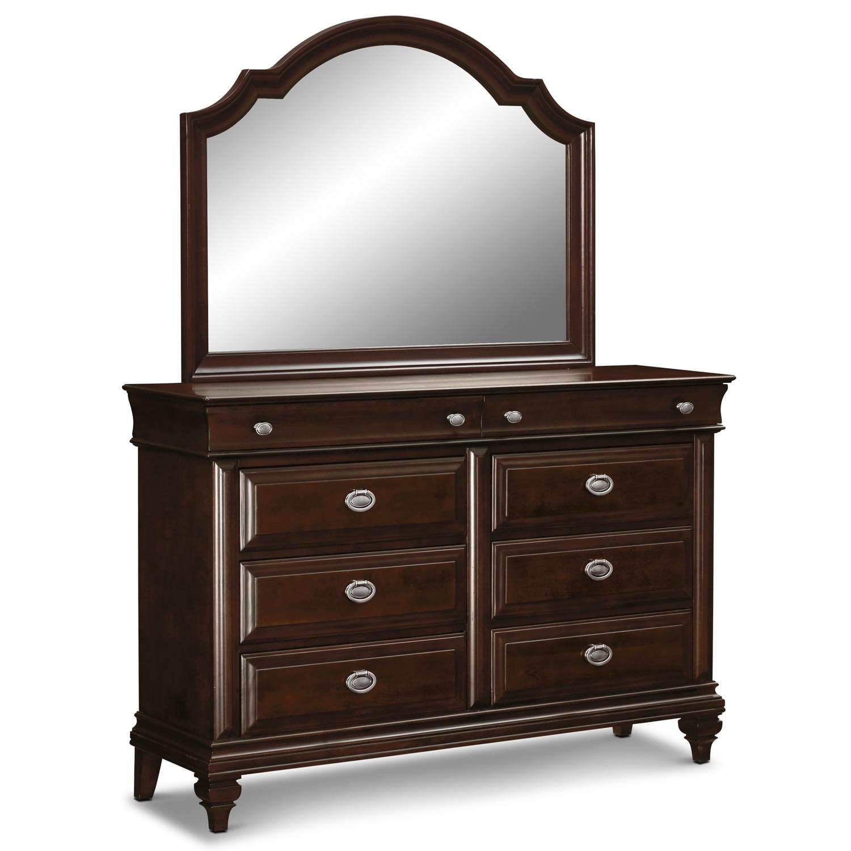 manhattan dresser and mirror cherry value city furniture. Black Bedroom Furniture Sets. Home Design Ideas