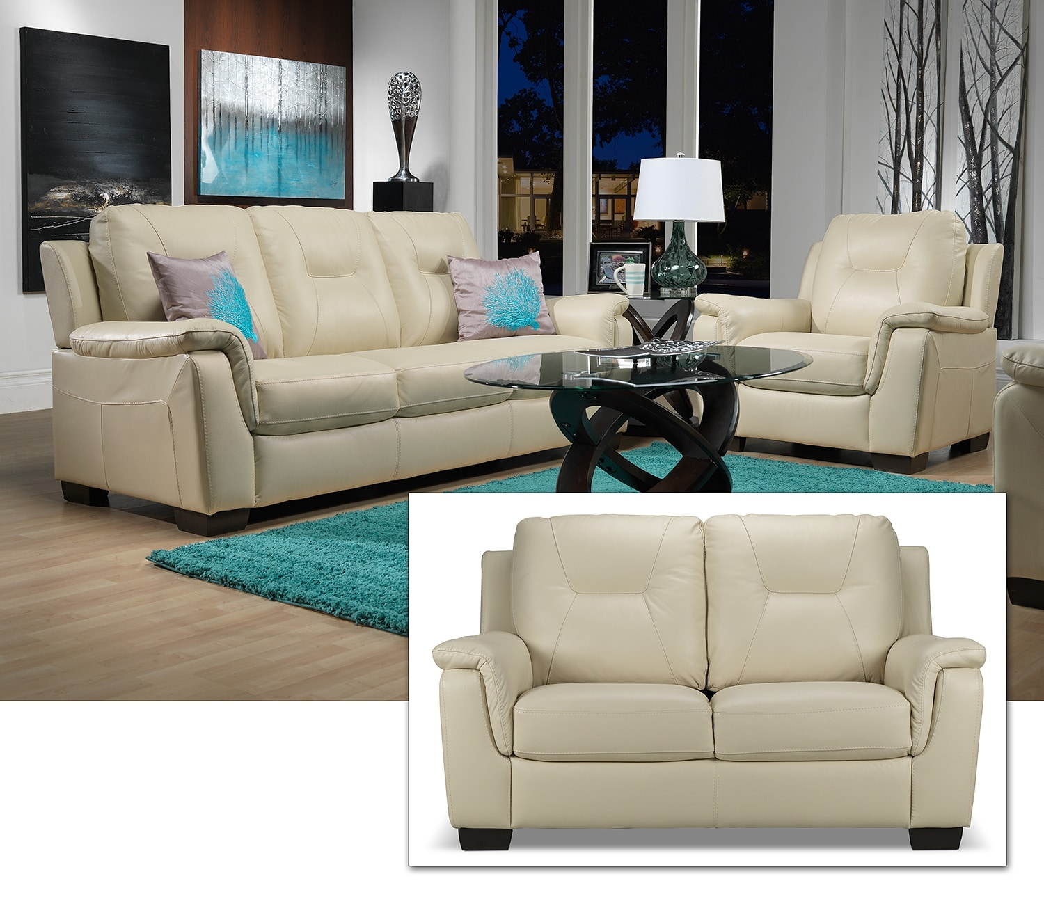 Dalia Sofa, Lovseat and Chair Set - Bisque