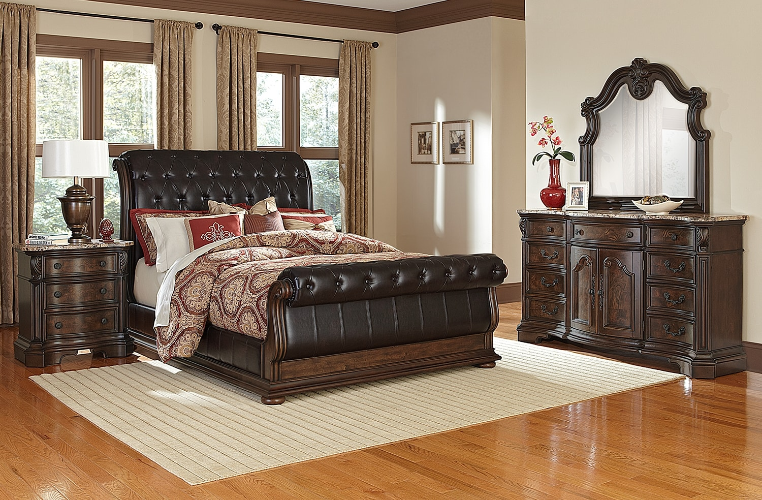 Monticello 6 piece king sleigh bedroom set pecan for American bedroom