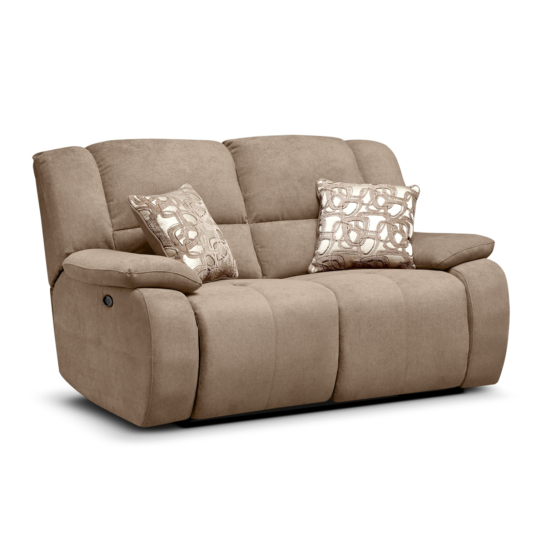 Living Room Furniture - Fortuna II Beige Power Reclining Loveseat