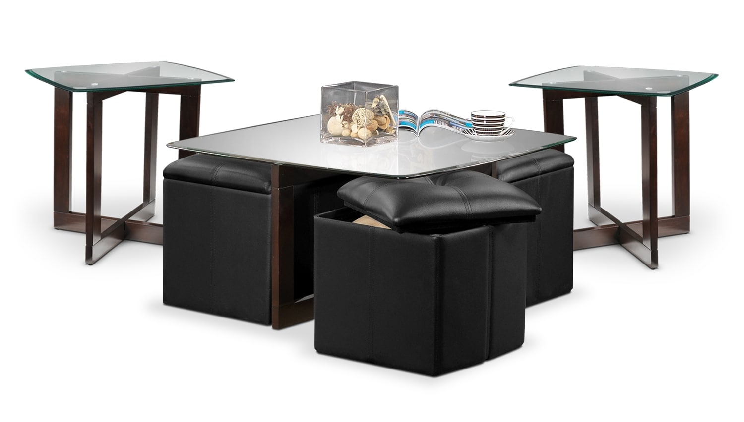 Neera Coffee Table, Two End Tables and Ottomans - Chocolate and Black