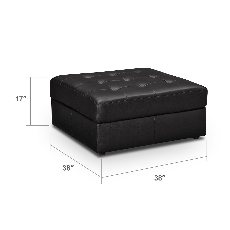 Living Room Furniture - Largo Black Ottoman