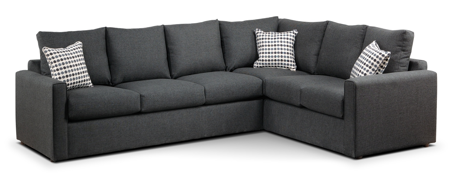 Athina 2 piece right facing queen sofa bed sectional for Leon divan sectionnel