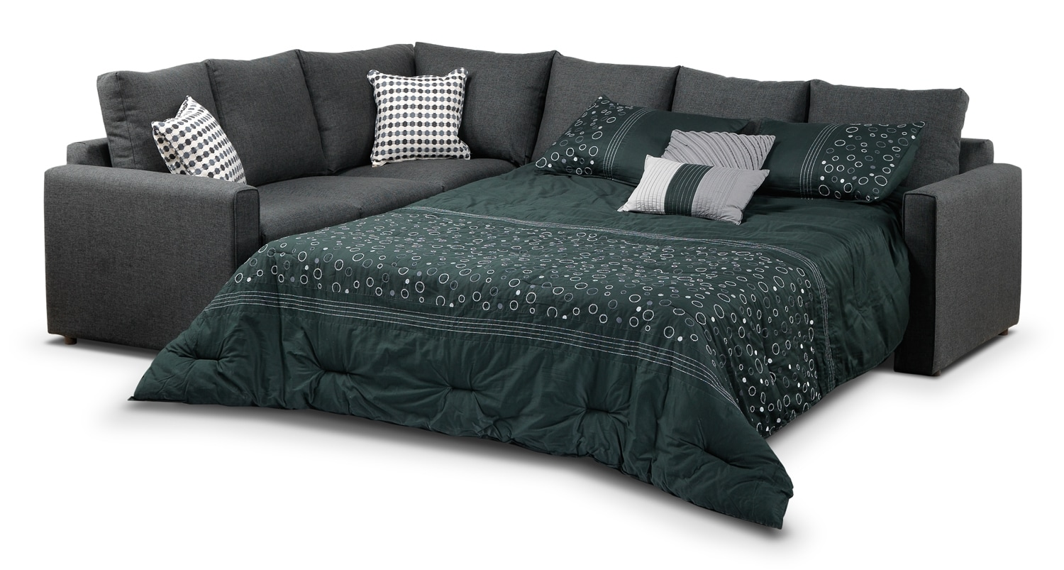 Athina 2 piece right facing queen sofa bed sectional for Sectional sleeper sofa with queen bed