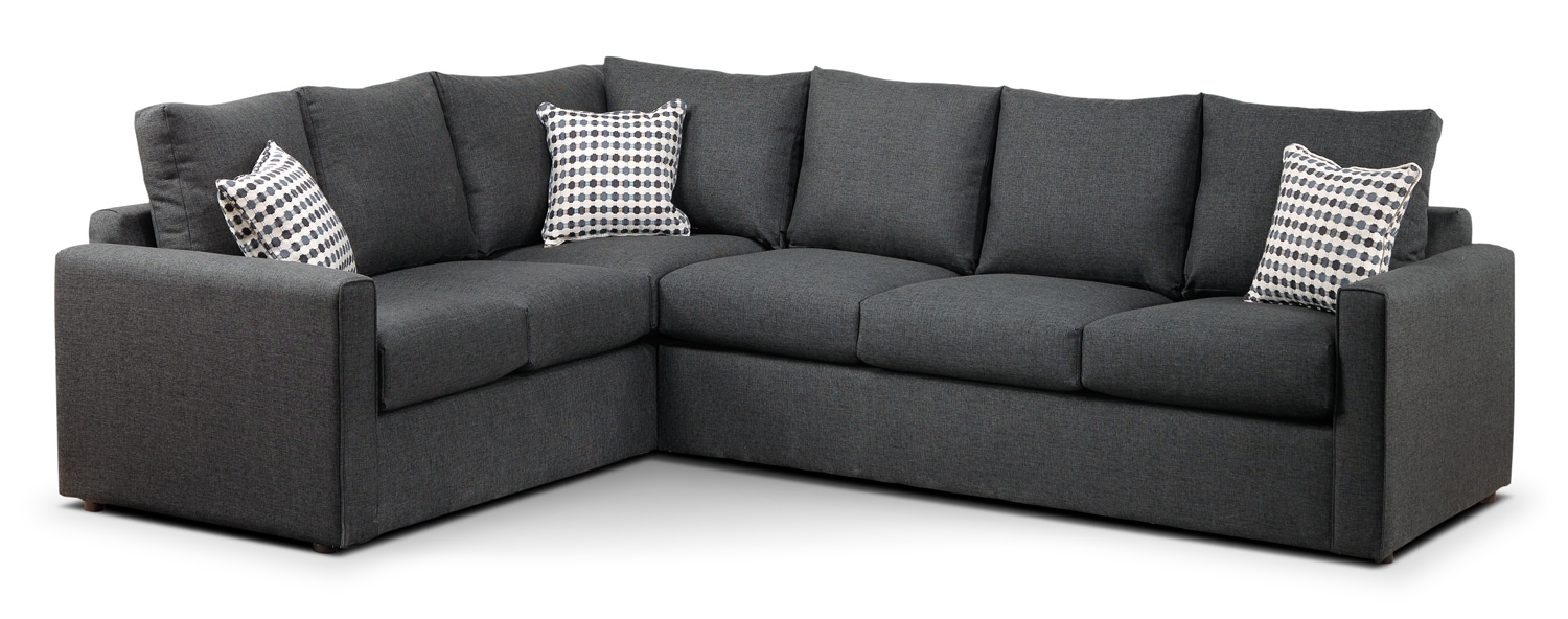 Athina  2-Piece Right-Facing Queen Sofa Bed Sectional - Charcoal