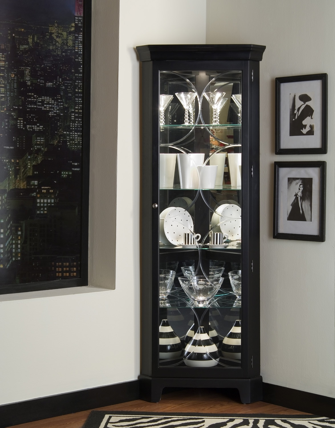 Accent and Occasional Furniture - Tess Curio - Black