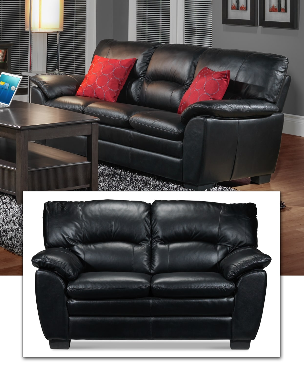 Rodero Sofa and Loveseat Set - Black
