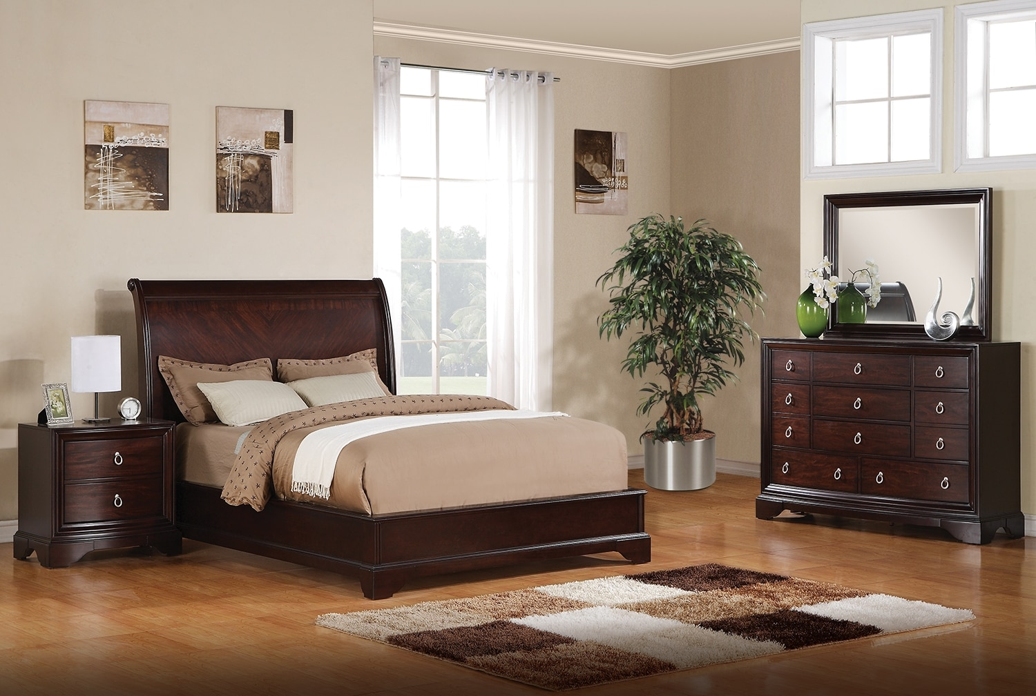 noah 5 piece king bedroom set dark cherry