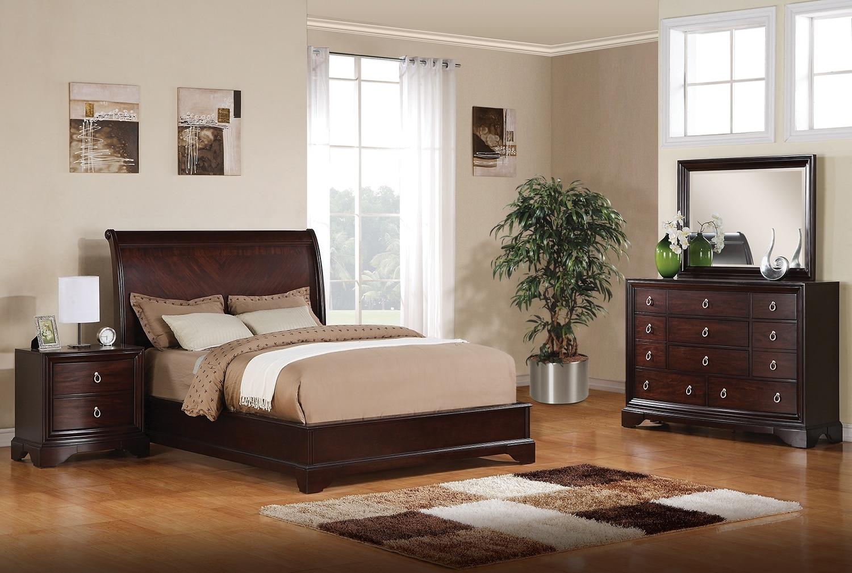 Bedroom Furniture - Noah 5-Piece King Bedroom Set - Dark Cherry