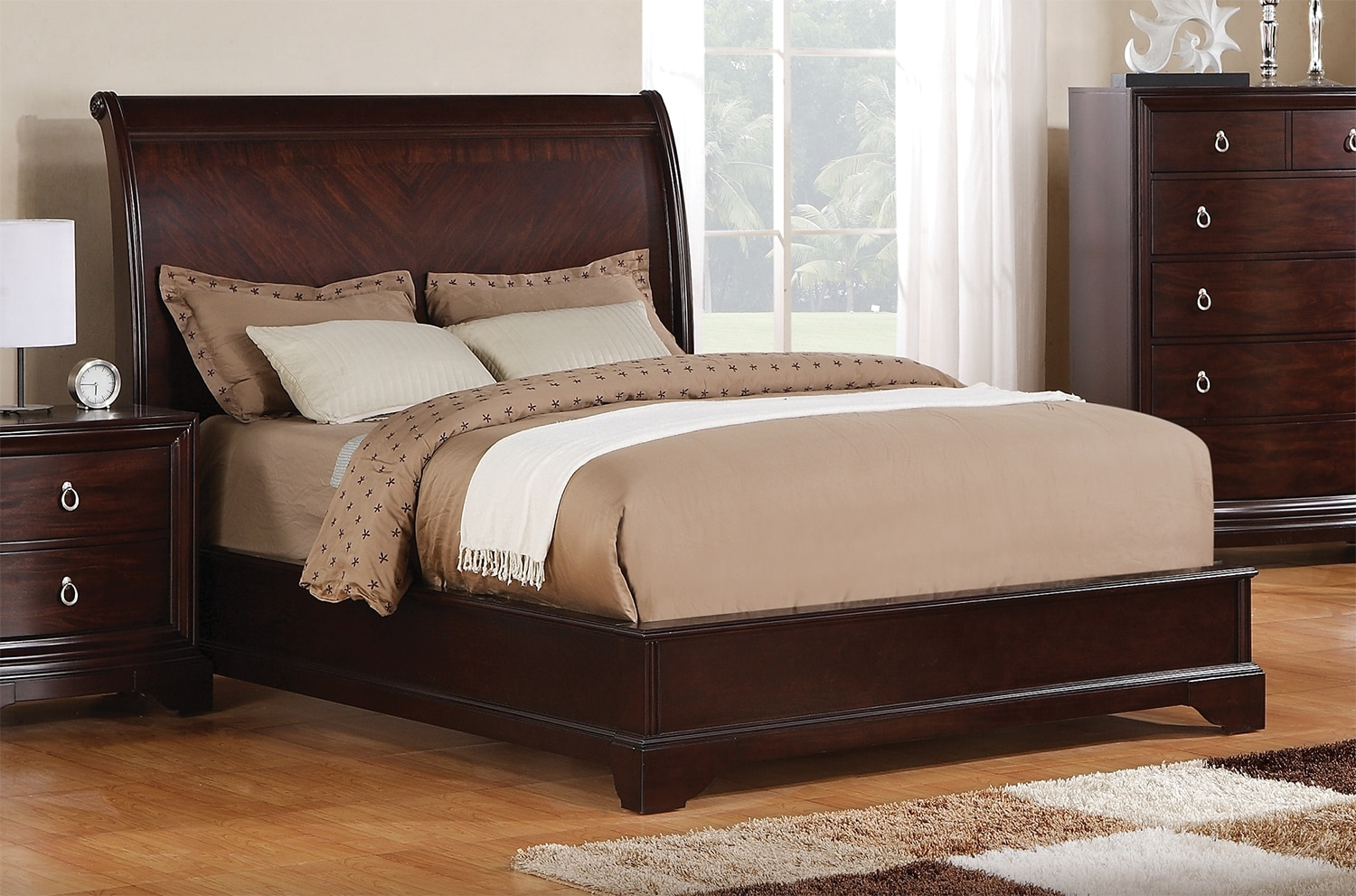 Noah queen bed dark cherry leon 39 s for Bedroom set and mattress