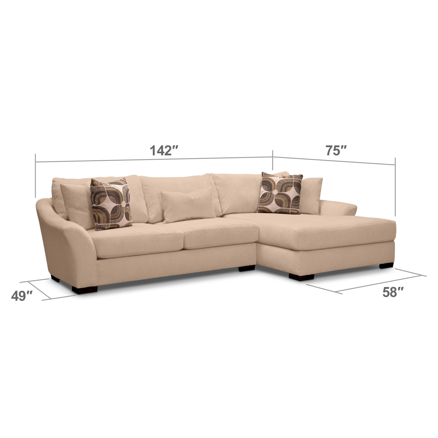 Living Room Furniture - Orleans Cream 2 Pc. Sectional (Reverse)