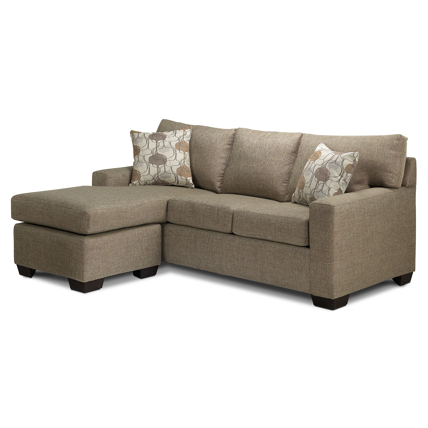 Living Room Furniture - Kendall Sofabed w/ Chaise - Granite Sand