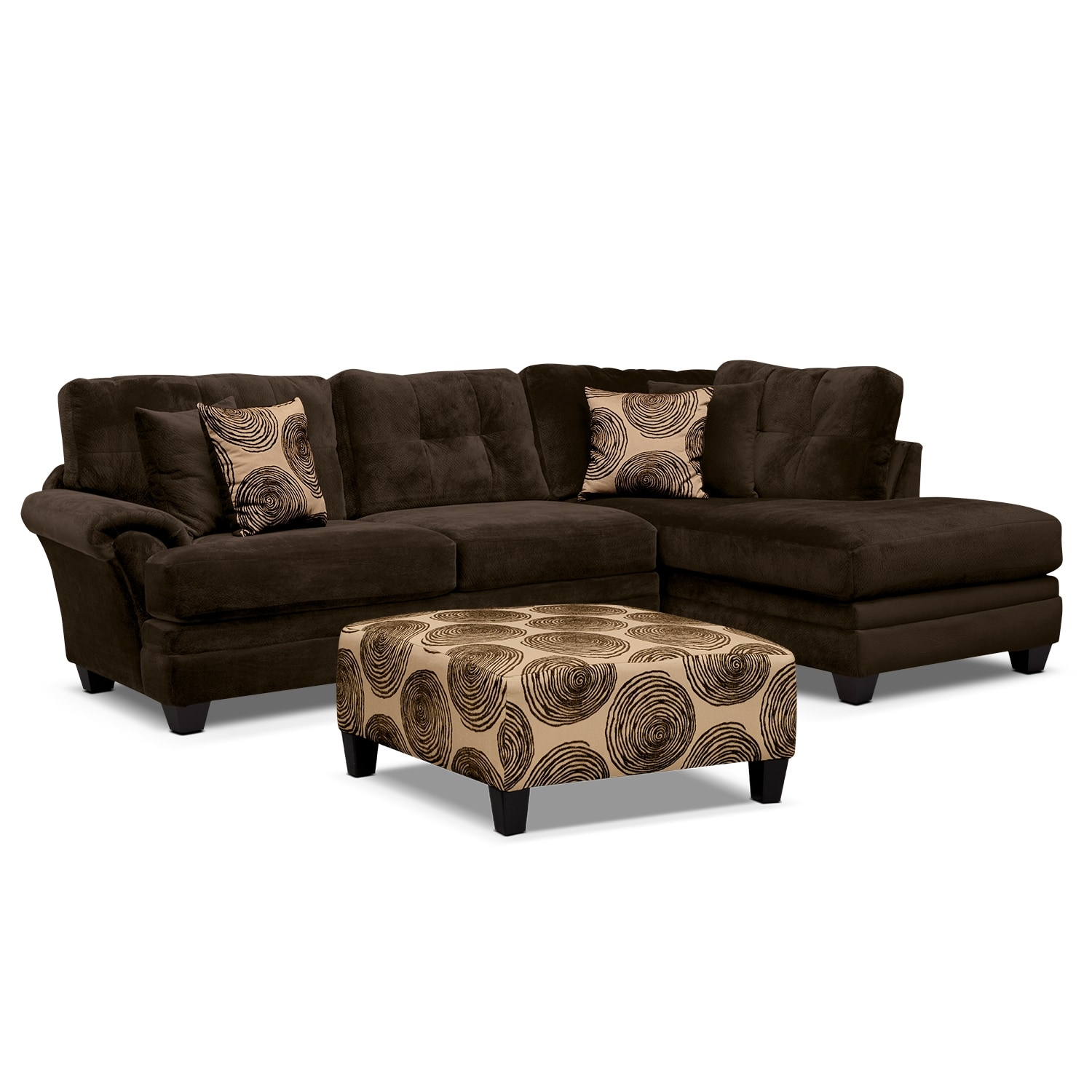 [Cordoba Chocolate 2-Piece Sectional and Cocktail Ottoman]
