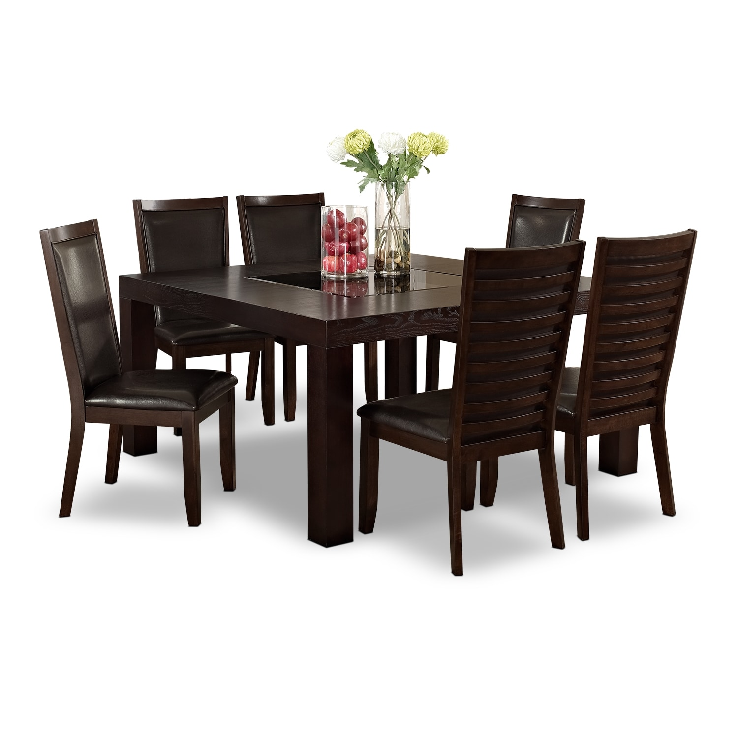 """[Tango Paragon II 7 Pc. Dinette with 60x60"""" Table - Merlot and Brown]"""