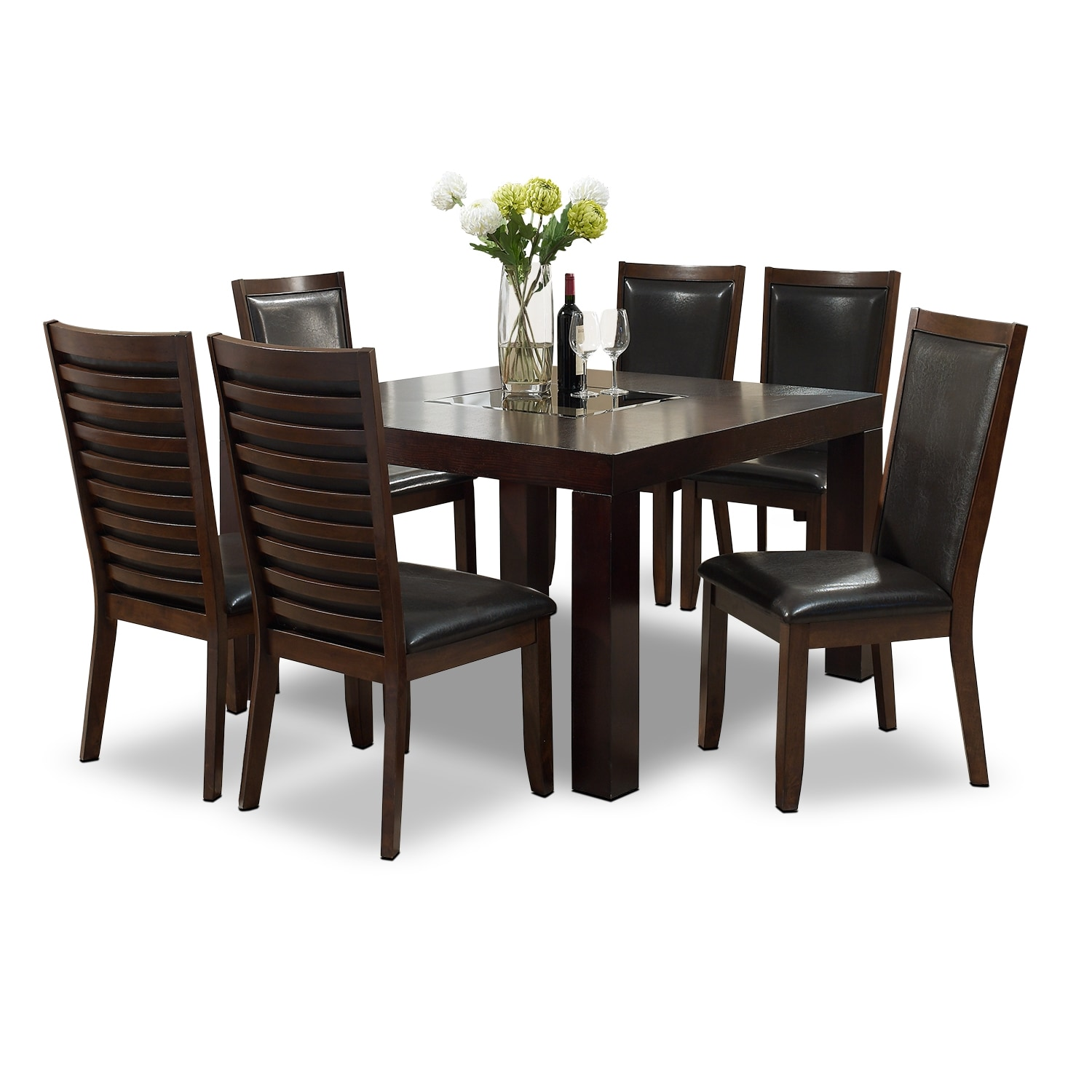 """[Tango Paragon II 7 Pc. Dinette with 50x50"""" Table - Merlot and Brown]"""