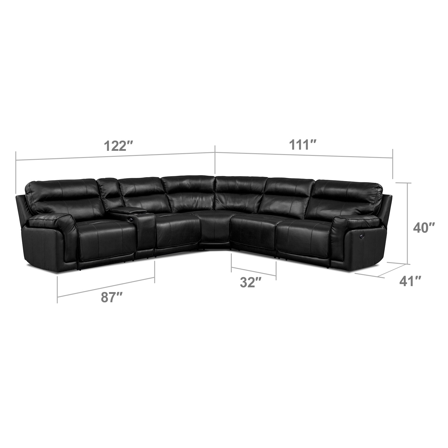 Living Room Furniture - Antonio 4 Pc. Power Reclining Sectional with Music Console